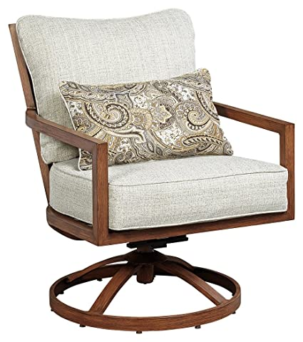 Ashley Furniture Signature Design   Zoranne Outdoor Patio Lounge Chair    Cushioned Back   Aluminium Swivel