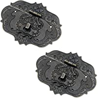 """Meprotal 2PCS 3.81""""x 2.87"""" Antique Box Latch Lock Decorative Jewelry Latch Hasp Clasp Wooden Cabinet Drawer Latch with…"""