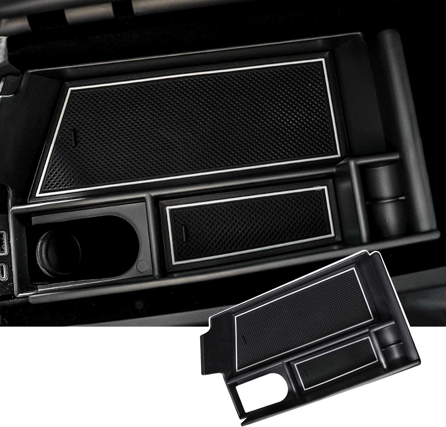 SKTU Center Console Organizer Customized for Cadillac CT5 Insert ABS Black Materials Tray Armrest Box Glove Secondary Storage Box with Coin and Glass Holder