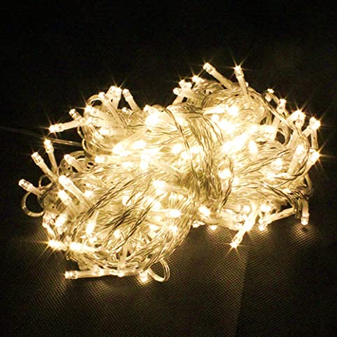 pms 200 led 22m warm white string fairy lights on clear cable with 8 light effects - Christmas Fairy Lights