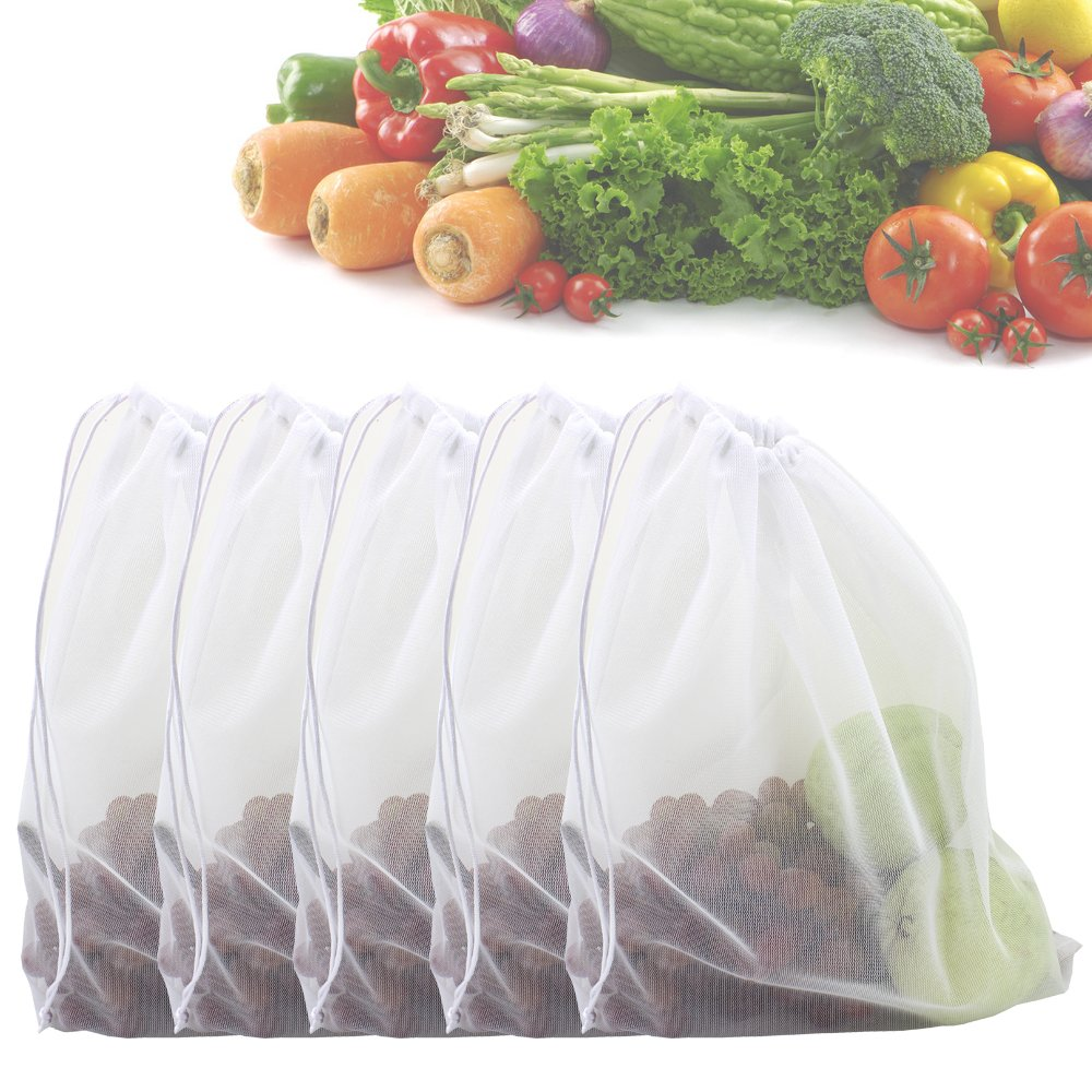 Zicome Set of 5 Strong Washable Fine Mesh Reusable Produce BagsFit for Shopping and Storage by ZICOME B010NY4E2W