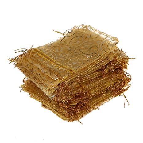 Romote 100 bolsas de organza con cordón para joyas, fiestas, bodas, regalos
