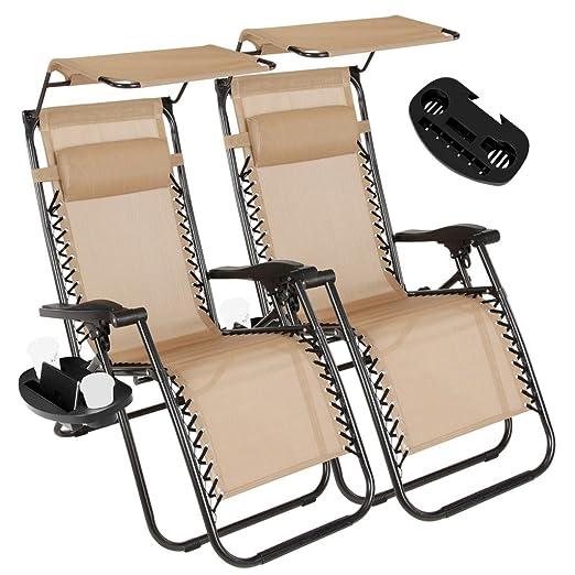 Juego de 2 sillas Plegables Zero Gravity para salón al Aire Libre ...