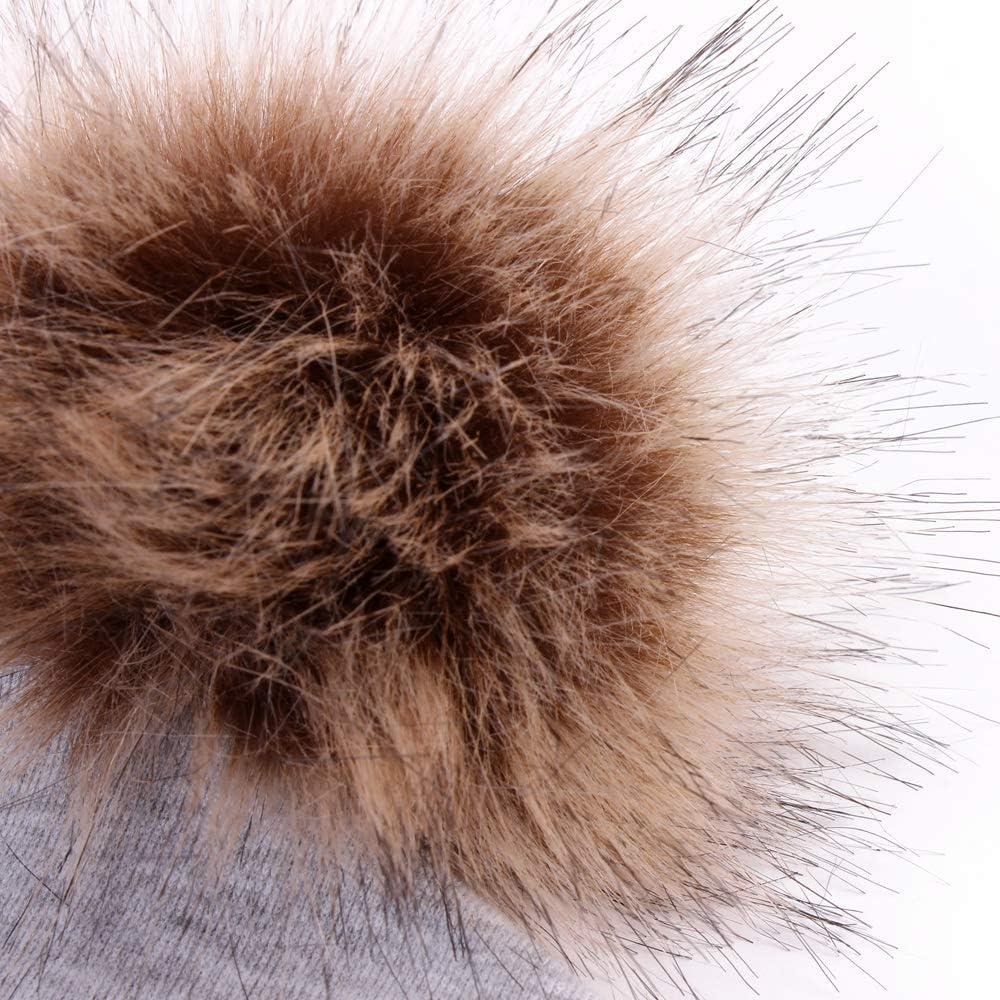 2PCS Parent Child Cotton Hat Winter Mom Baby Faux Fur Pompom Beanies Ski Cap