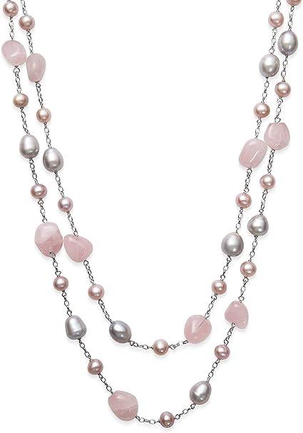 Rose Quartz Pink Statement Earrings Modern Freshwater Pearl Tassel Earrings