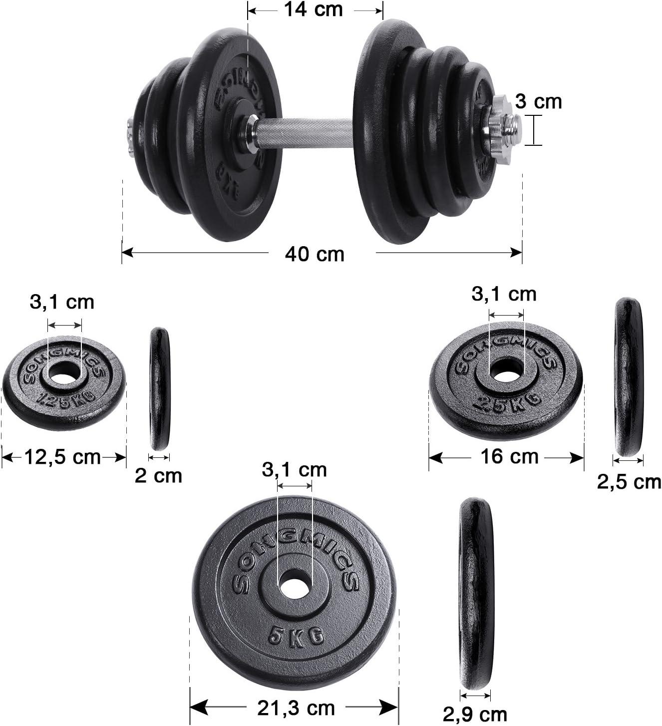 SONGMICS Dumbbell Weight Set Cast Iron 20KG 30KG 40KG 50KG 60KG