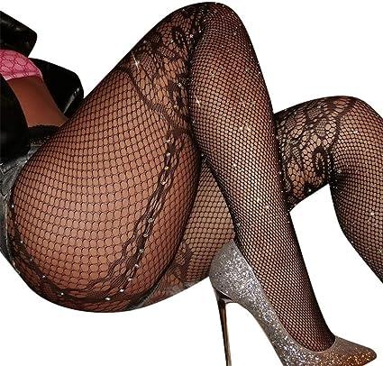 Women Rhinestone Fishnet Mesh High Waist Pantyhose Tights Stockings