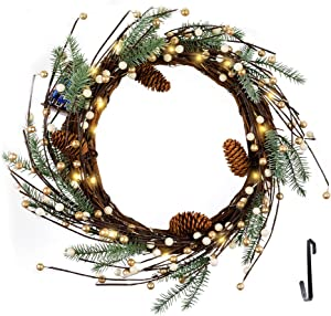 Fristmas Lighted Christmas Wreath for Front Door, 16 Inch Berry Wreath with Timer, Battery Operated 15 LED Warm Lights Decorations Wreath for Christmas Indoor Outdoor