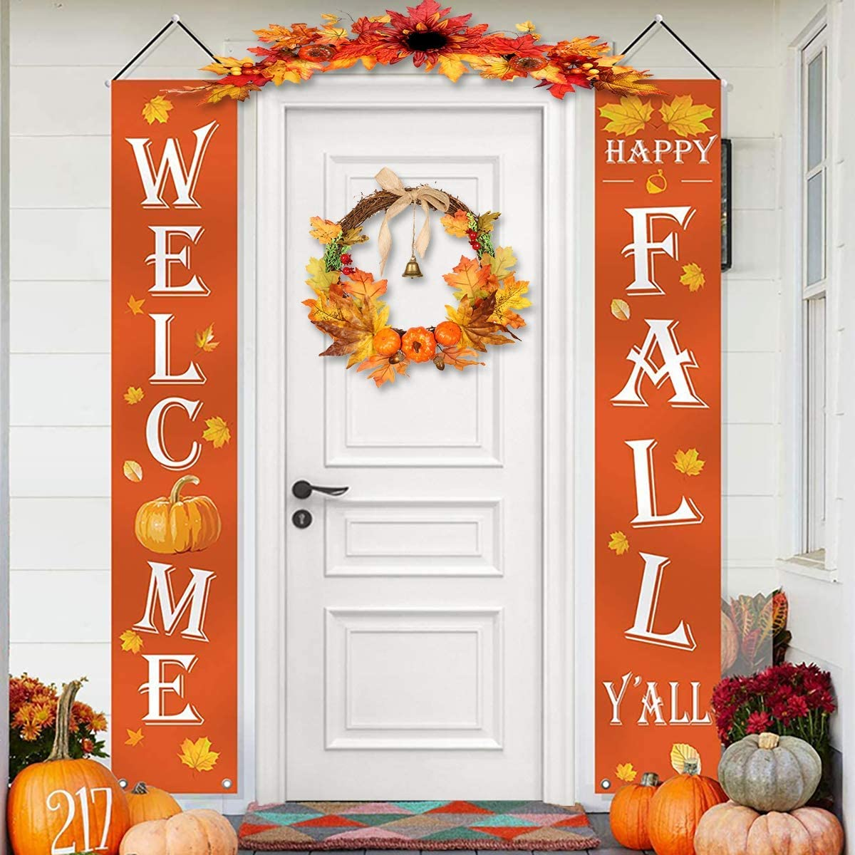 Fall Decorations - Welcome Happy Fall Y'all, Autumn Large Hanging Flags Harvest Welcome Signs Porch Banners -Fall Decorfor Home Door Outdoor Thanksgiving Birthday Party Yard