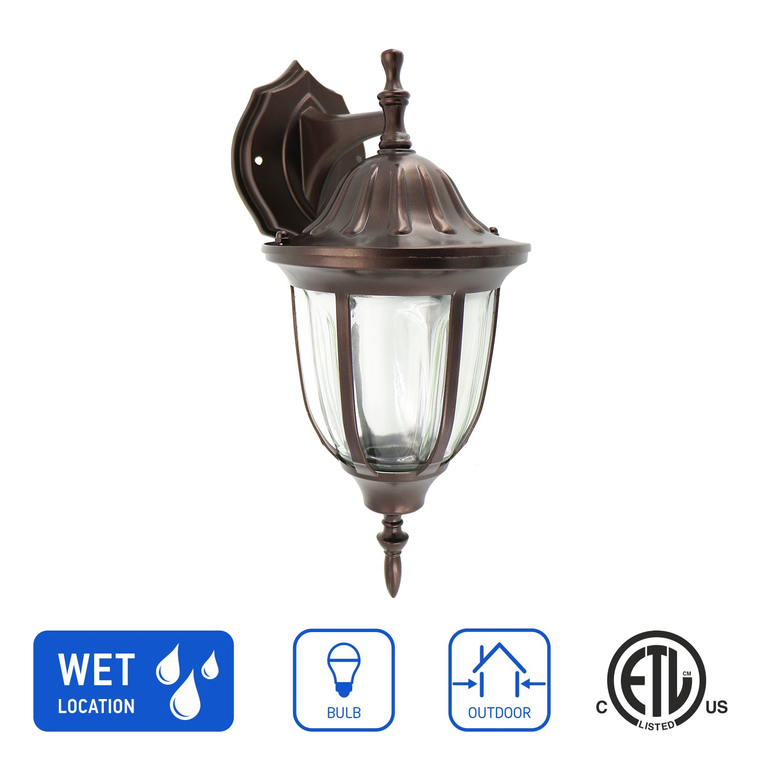 IN HOME 1-Light Outdoor Exterior Wall Down Lantern, Traditional Porch Patio Lighting Fixture L03 with One E26 Base, Water-Proof, Bronze Cast Aluminum Housing, Clear Glass Panels, ETL Listed