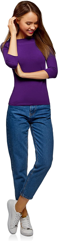 oodji Collection Donna T-Shirt con Maniche a 3//4