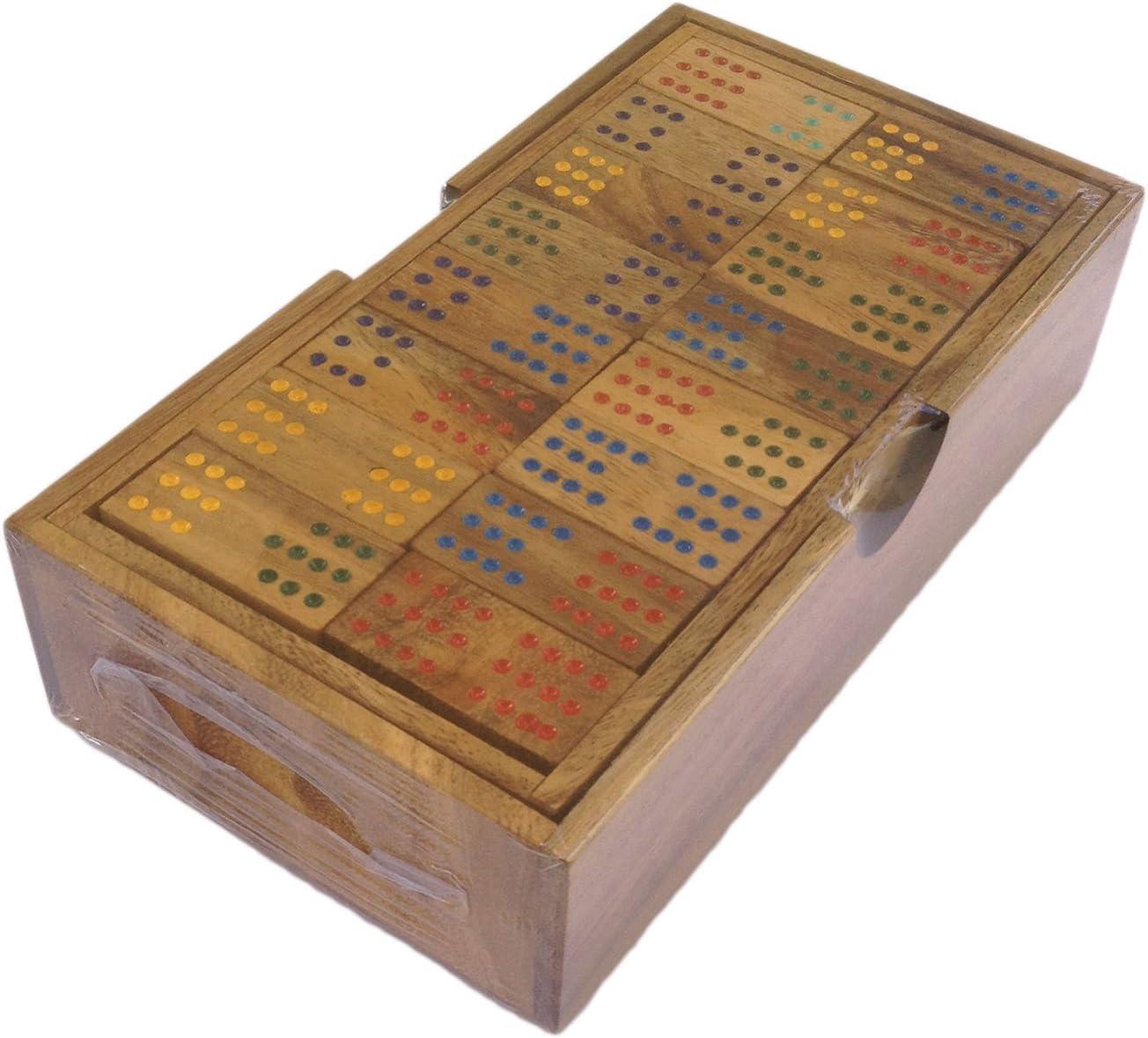 ダブル12カラードット木製Dominoes – 96個ボックスセットハンドメイド大きなサイズ