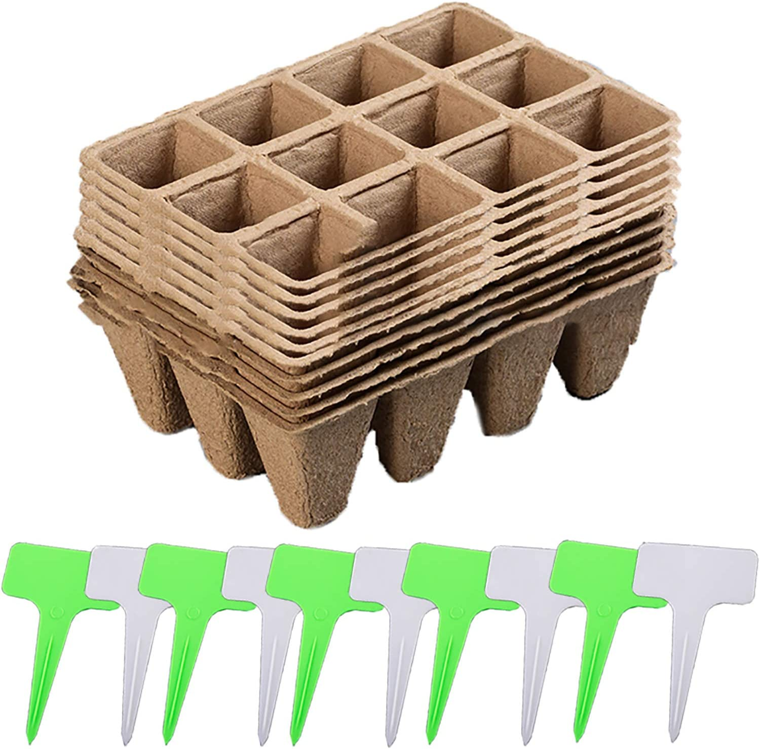 ZT Seedlings Starter Trays 10 Pcs Biodegradable 12 Grids Peat Pots Starter Tray for Gardening Seed Eco-Friendly Organic Plant Starting Pots Germination Container with Plant Labels 20 Pcs