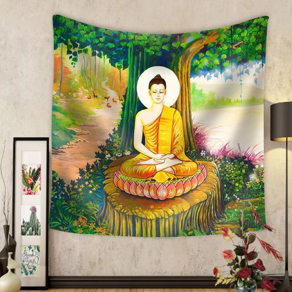 Niasjnfu Chen Custom tapestry Traditional Thai Style Painting Art on Temple WallThailand.Generality in Thailand - Fabric Wall Tapestry Home Decor by Niasjnfu Chen