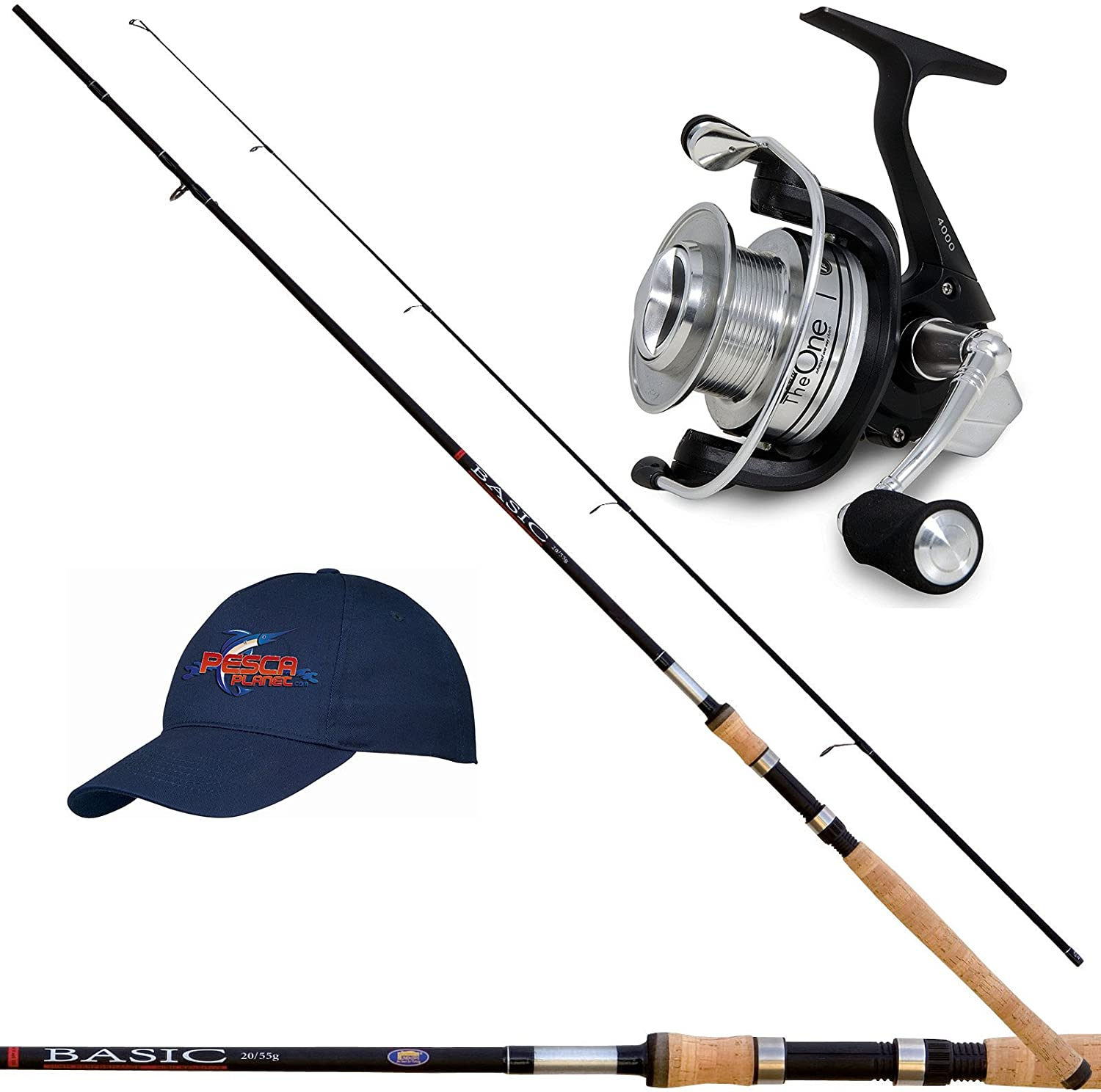 Kit Spinning Top Class caña pesca carbono 210 carrete y gorra ...