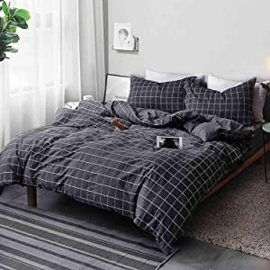NANKO Queen Duvet Cover Set Black Grid Geometric 3 Pieces 90x90 Luxury Microfiber Quilt Bedding Cover with Zipper Closure, Ties - Organic Modern Style for Men and Women, Plaid