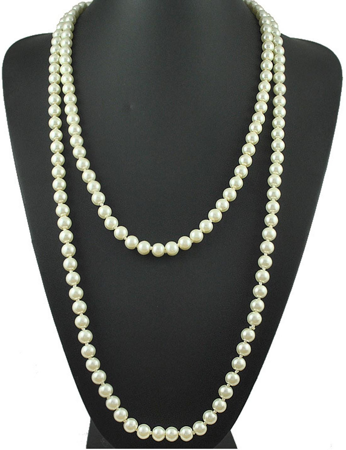 """ART DECO Faux Pearls Flapper Beads Cluster Long Pearl Necklace Great Gatsby 55"""" (Pearl White)"""