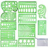 QincLing 11 peças de modelos de desenho geométrico estêncil réguas de plástico de medição modelo verde transparente modelo pa