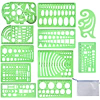 Qincling 11 Pieces Geometric Drawings Templates Stencils Plastic Measuring Template Rulers Clear Green Shape Template…
