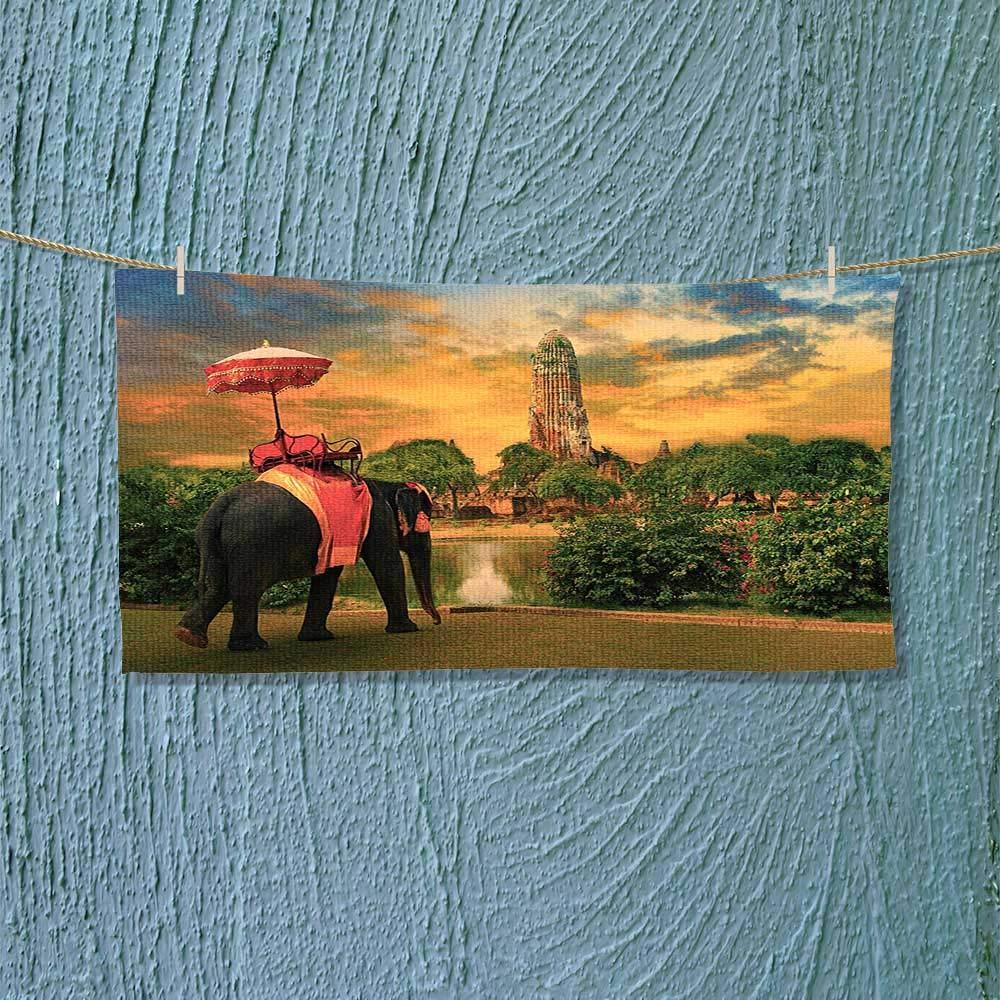 Nalahome Shower Towel Elephant Dressing with Thai Kingdom Tradition Accessories Pagoda in Ayuthaya Easy Care Machine wash L27.5 x W13.8 inch