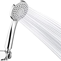 Couradric Shower Head,Low Water Pressure Boosting Handheld Shower Head 3-Function High Pressure Water Saving with Large Bore Hose and Adjustable Holder - Chrome
