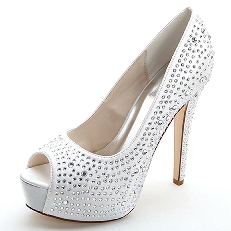Elobaby Zapatos De Boda De Las Mujeres Rhinestones Tacones Altos Marfil Blanco Redondo Peep Toe Sandalias De Noche/12.5cm TalóN 37 EU|White