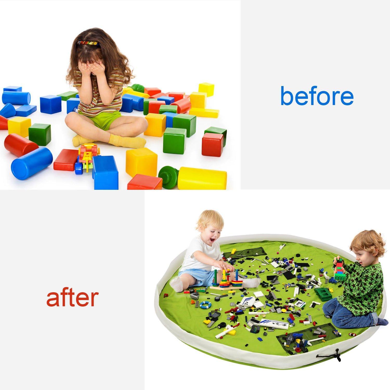 Verde BELLESTYLE Tela di cotone 150CM Tappetino da gioco per bambini Organizzatore di giocattoli Borsa rapida per Memorizzazione di giocattoli di piccole e medie dimensioni Borsa Per Giocattoli