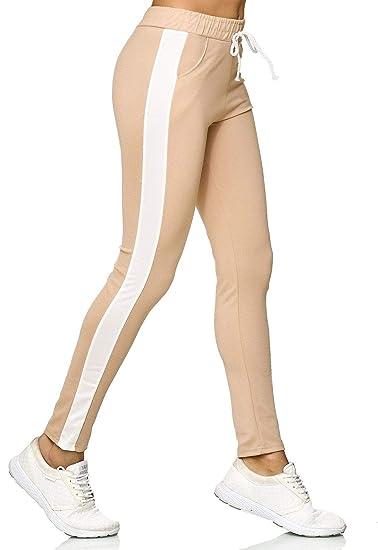 e9b534c8d44dce EGOMAXX Damen Jogging Hose Stretch Stoffhose Streifen Trackpants   Amazon.de  Bekleidung