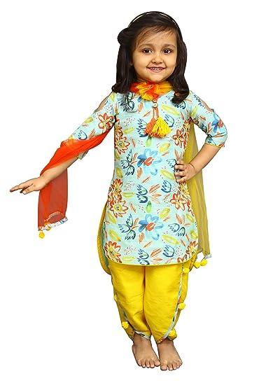 683c61c5d5aa6 White Button Girl's Banglori Silk Sky Blue Floral Print Kids Salwar Suit  Dress_2-3 years