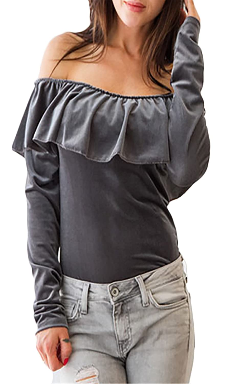 Blusen Damen Langarm Schulterfrei Rückenfrei Rüschen Elegant Vintage  Cocktail Shirt Tops Oberteil: Amazon.de: Bekleidung