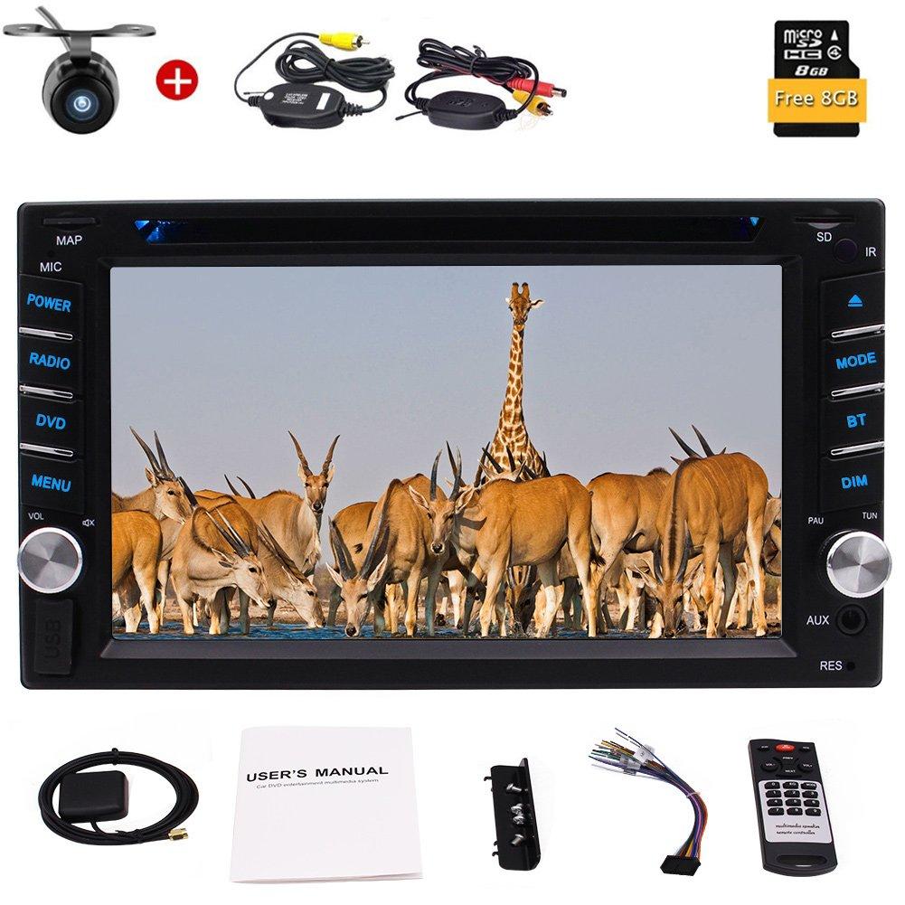 ダッシュカーCD DVDプレーヤーAutoradio GPSステレオラジオBTのUSB RDS 1080Pカラーボタン+付属UI +ワイヤレスリバースカメラの3種類のEincar 6.2インチユニバーサルダブル2ディン! B0792TK9B1