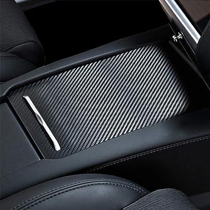 Tesla Center Console Sliding Drawer Wrap Stiker,Car Center Console Armrest  Decoration Cover,Carbon Fiber Protective Film Anti-Scratch Sticker for