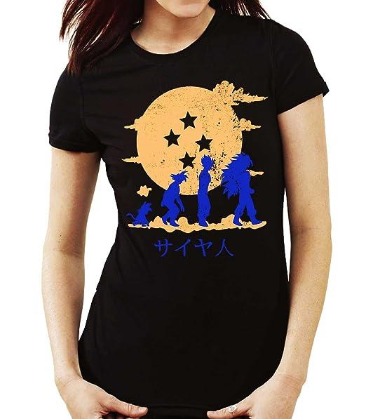 35mm - Camiseta Mujer Evolution Son Goku Dragon ball, NEGRA ...