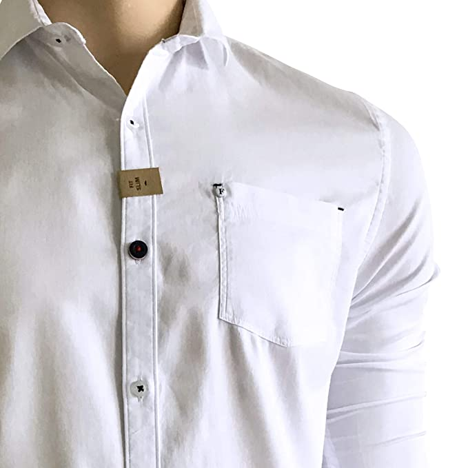 Fervel Mens Slim-Fit Long Sleeve Shirt Printed White Cotton Nacre Buttons (Q) at Amazon Mens Clothing store: