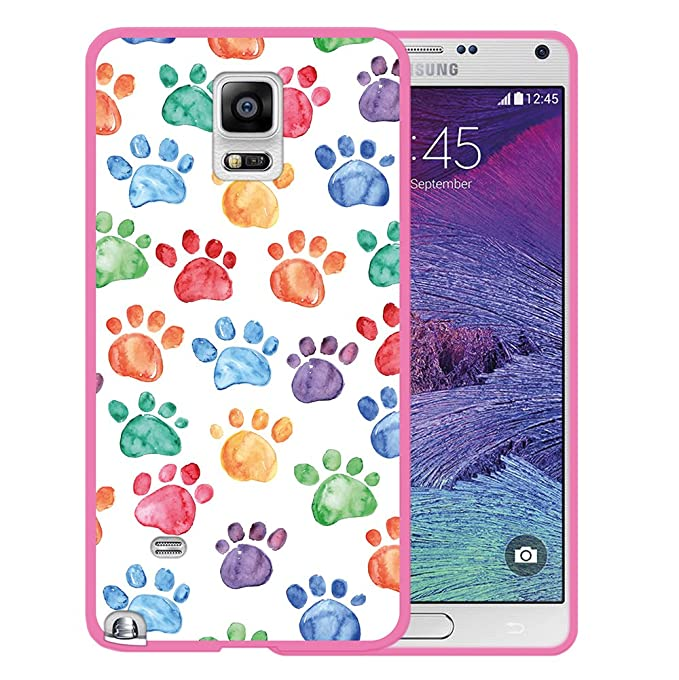 Funda Silicona Gel Flexible Huellas Perro Samsung Galaxy Note 4 WoowCase Funda Samsung Galaxy Note 4, Rosa Carcasa Case TPU Silicona