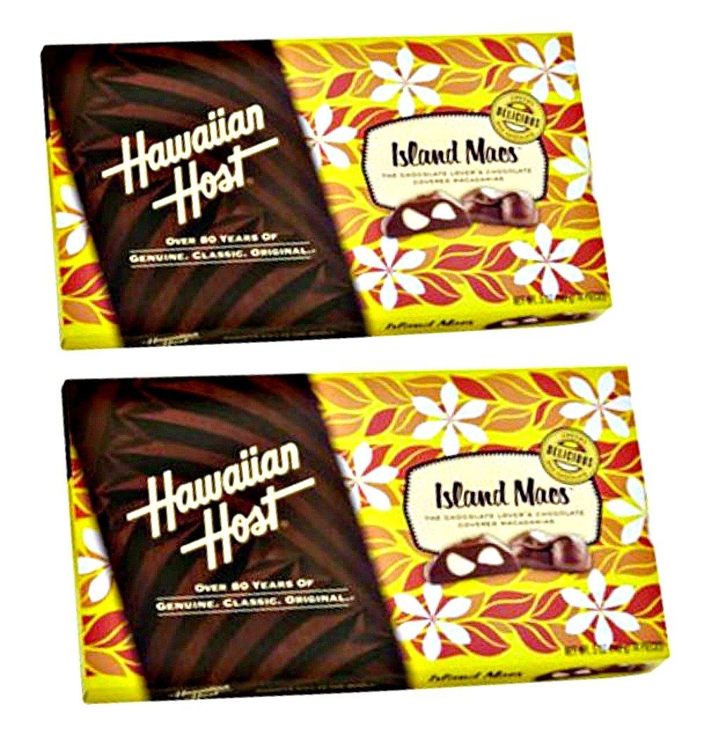 Hawaiian Host Island Macs Tiare Milk Chocolate Covered Macadamia Nuts 5 oz Boxes (2 Boxes)