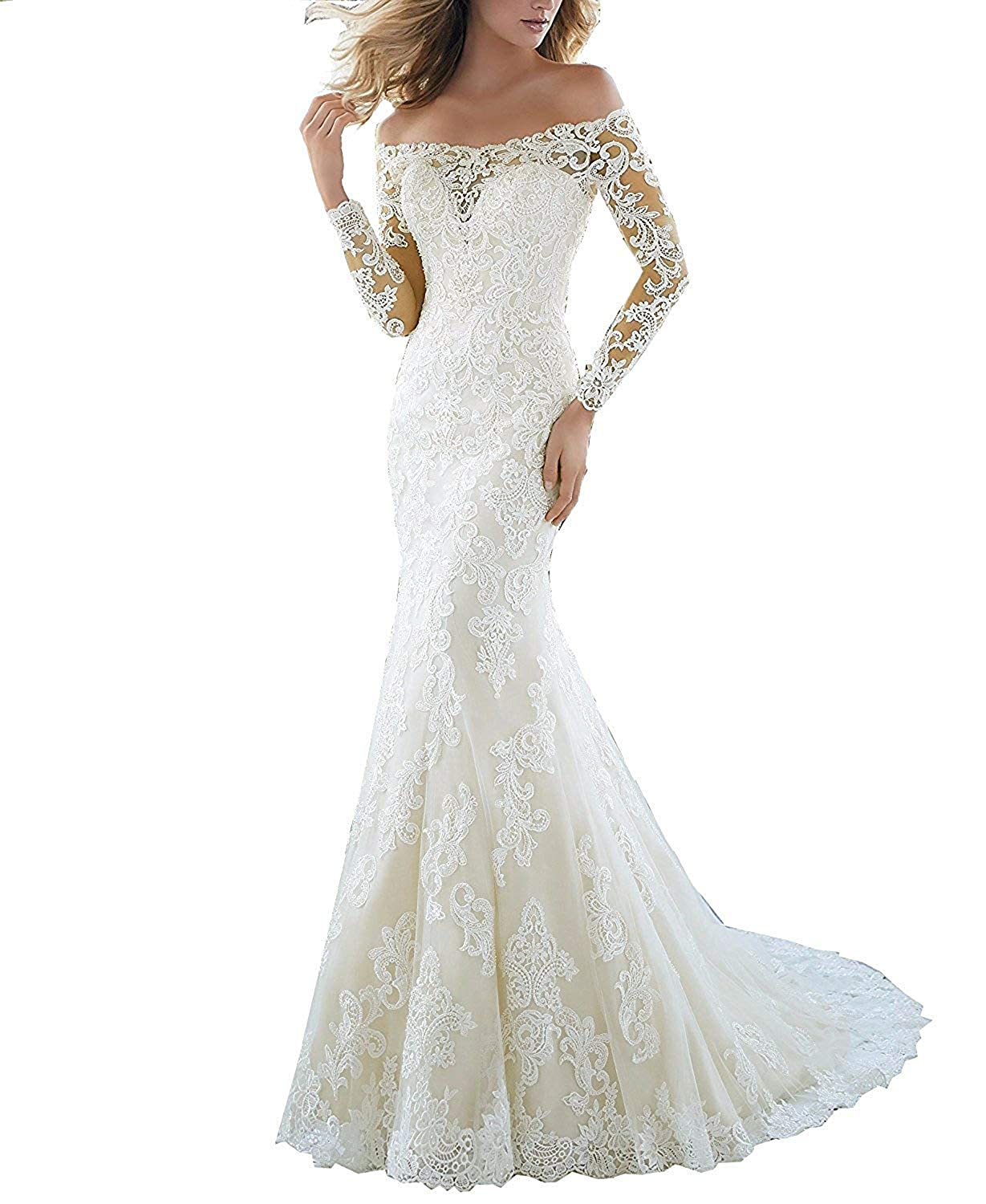 Ivory_style3 CharmingBridal Women's Off Shoulder Lace Wedding Dress Mermaid Bridal Gowns