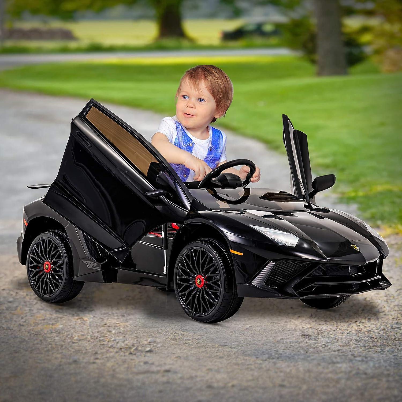 Uenjoy Lamborghini Véhicule Électrique Voiture pour Enfant avec Télécommande, Lumière LED, Suspension,Interface USB, Haut-Parleur, Compatible Lamborghini, Noir Noir