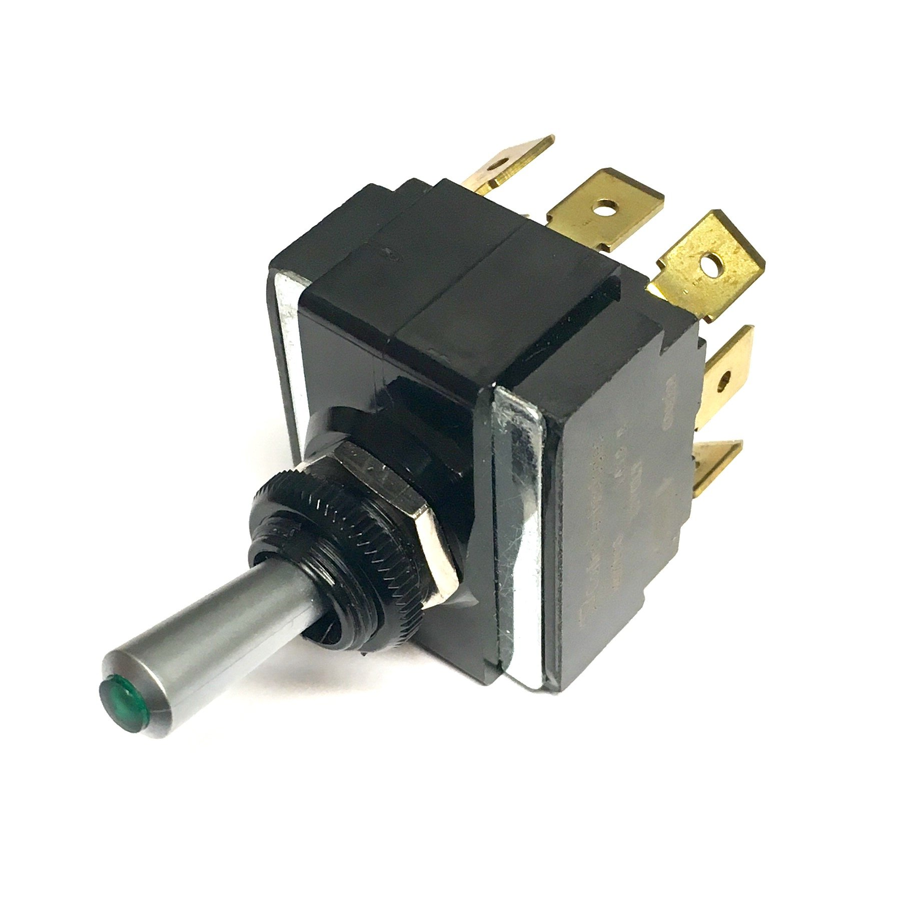Toggle Switch ON/OFF/ON, DPDT, Lighted Green Lens, Lighted Toggle Switch by Carling/Cole Herse switches