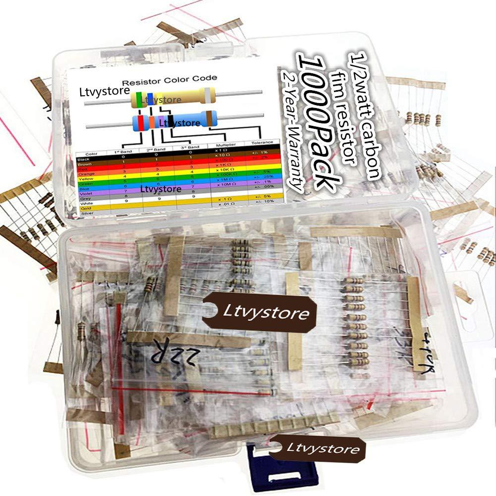 Ltvystore 1000PCS 100 Values 1 ohm -10M ohm 1/2W Metal Film Resistors Assortment Kit Assorted Set
