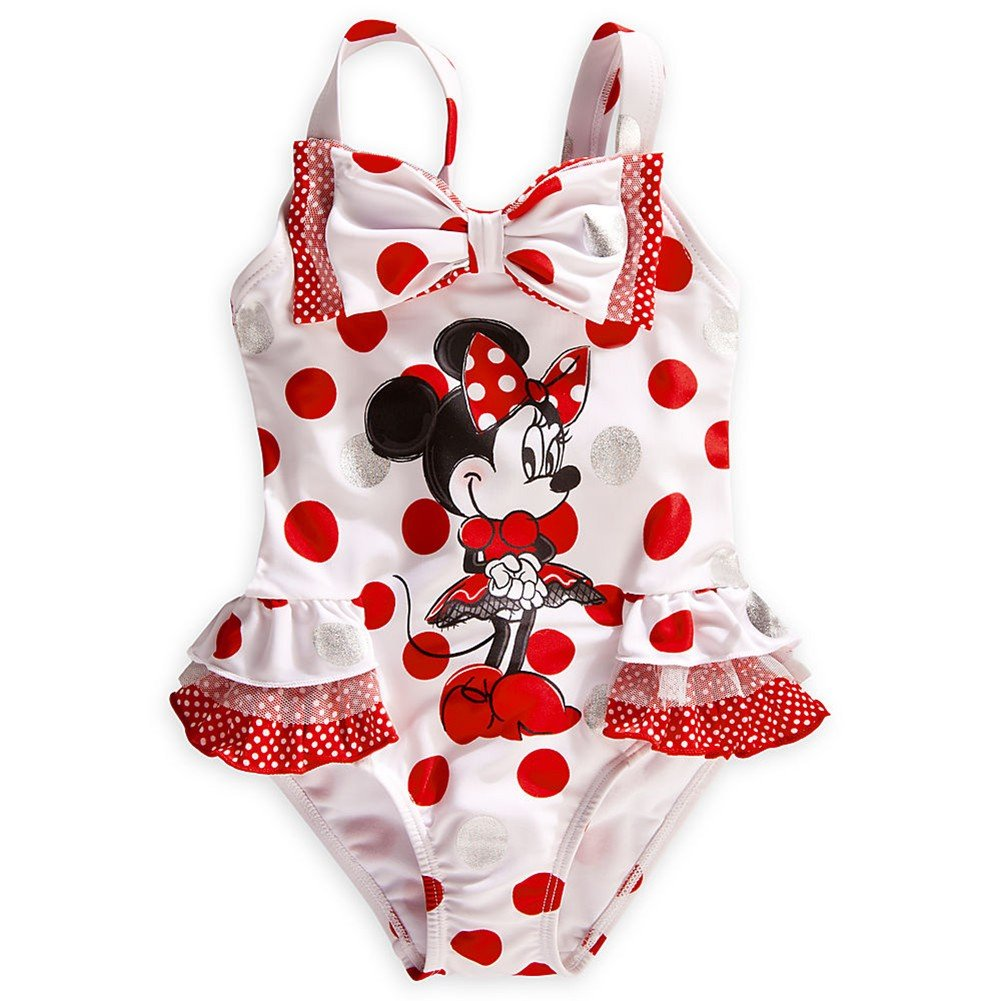 Disney Store Minnie Mouse Swimsuit Size XXS 3//3T White//Red Polka Dot Swimwear