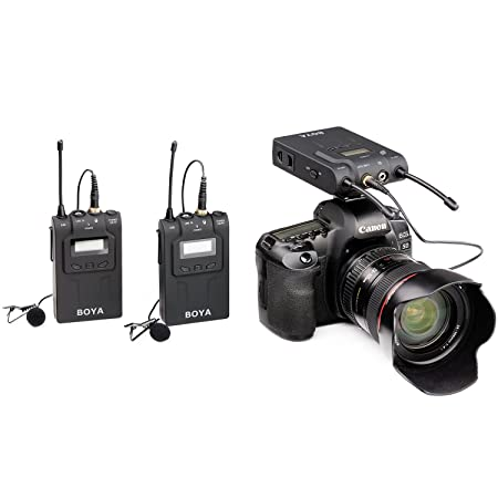 BOYA BY-WM8 UHF Dual-Channel Wireless Lavalier Microphone System with 48 Channels for ENG EFP DSLR Cameras Camcorders <span at amazon