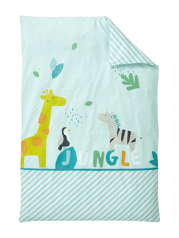 Vertbaudet Bettbezug, für Baby, Design Jungle Party, Baumwolle, Vert Clair Imprimé, 80X120