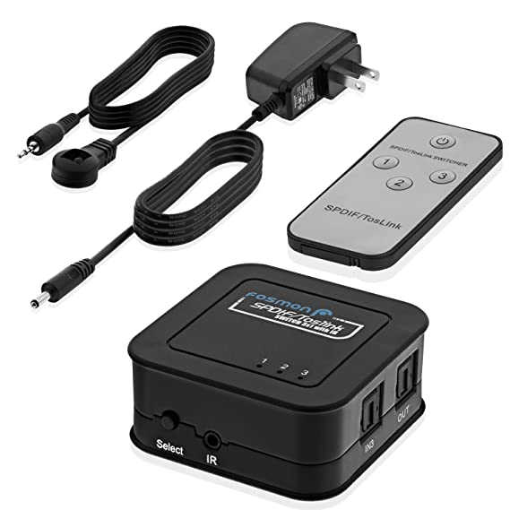 Fosmon HD8026 3 x 1 (SPDIF/Toslink) Digital Optical Audio Switch with Remote