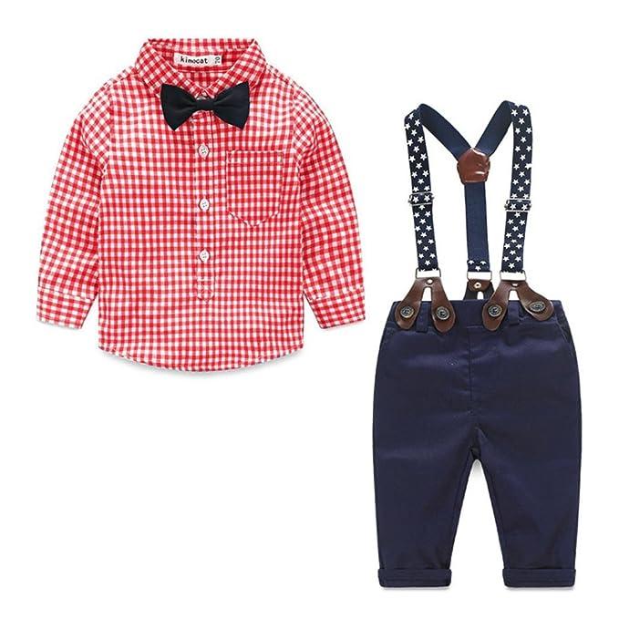 ropa de bebé, Honestyi Camisa a cuadros de bebé + traje de correa + pantalón