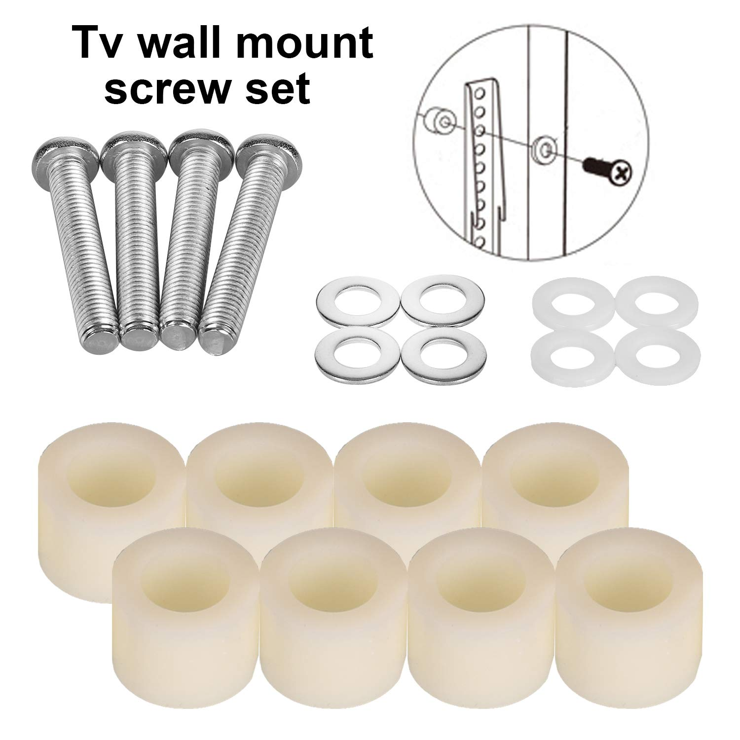 TV Wall Mount Bolts Screws for Samsung TV With 20mm Long Spacers Stainless St...