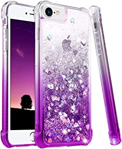 """Ruky iPhone 6 6S 7 8 Case, iPhone SE 2020 Case, Gradient Quicksand Series Glitter Bling Flowing Liquid Floating TPU Bumper Cushion Girls Women Case for iPhone 6/6s/7/8/SE 2020 4.7"""", Gradient Purple"""