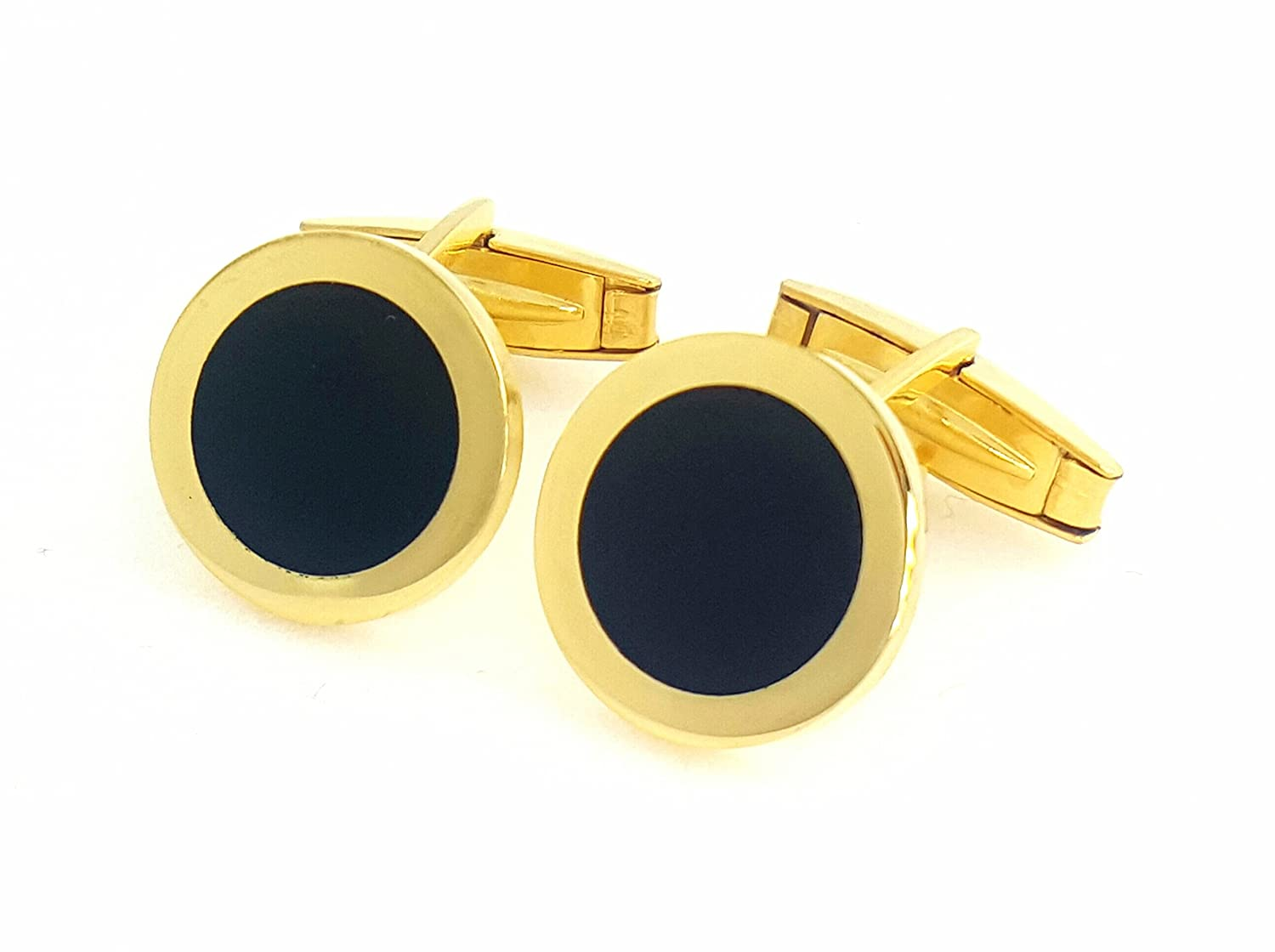 18 Karat Gold Overlay 925 Solid Sterling Silver Cufflinks WITH BLACK ENAMEL(MADE IN ITALY) cf14