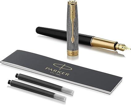 Parker Sonnet - Pluma estilográfica (de plata grabada y lacada en negro, con adorno bañado en oro y plumín mediano de 18 K, en estuche): Amazon.es: Oficina y papelería