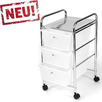 Rollcontainer kunststoff 3 schubladen  Rollbares Badregal Küchenregal Badtrolley Rollwagen ...